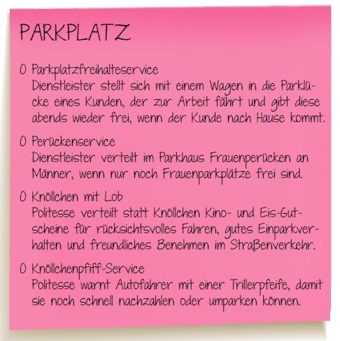 Service Quiz Parkplatz